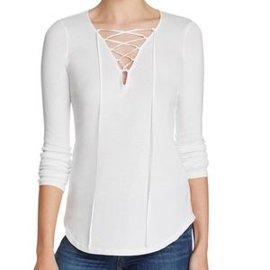 Splendid White Lace Up Top